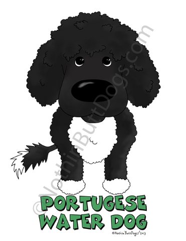 Big Nose Portuguese Water Dog (Curly) Light Colored T-shirts