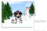 Tri Australian Shepherd Winter Snowman Greeting Cards