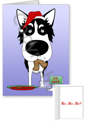 Siberian Husky Santa's Cookies Greeting Cards