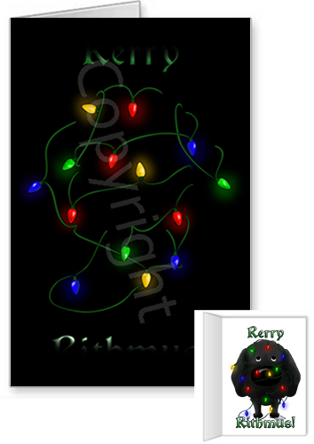 Black Lab Merry Christmas Lights Greeting Cards