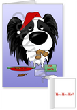 Black Papillon Santa's Cookies Greeting Cards