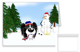 Papillon Winter Snowman Greeting Cards