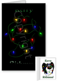 Papillon Merry Christmas Lights Greeting Cards