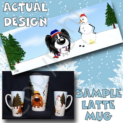 Papillon Winter Scene 17oz Latte Mug