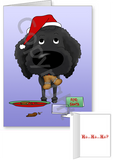 Black Poodle Santa's Cookies Greeting Cards