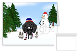 black Poodle Winter Snowman Greeting Cards