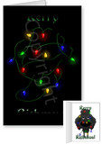 Black Poodle Merry Christmas Lights Greeting Cards