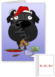 Black Pug Santa's Cookies Greeting Cards