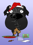 Pug Santa's Cookies Greeting Cards