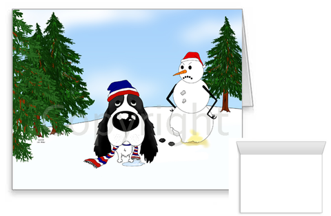 English Springer Spaniel Winter Scene Greeting Cards