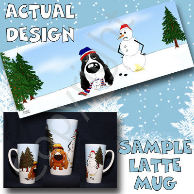 English Springer Spaniel Snowman 17oz Latte Mug