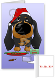 Dachshund Santa's Cookies Greeting Cards