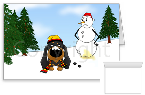 Dachshund Winter Scene Greeting Cards