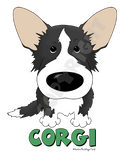 Black & White Cardigan Welsh Corgi (Big Nose) Shirts - More Styles and Colors Available