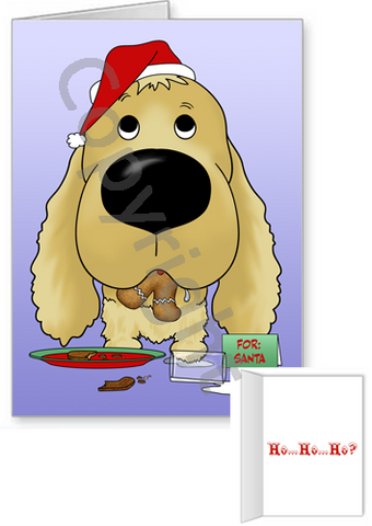 Cocker Spaniel Santa's Cookies Greeting Cards