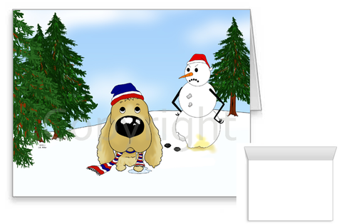 Cocker Spaniel Winter Scene Greeting Cards