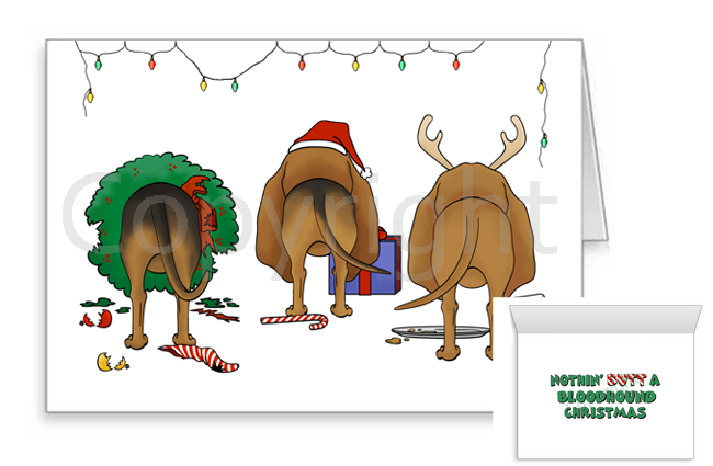 Nothin' Butt A Bloodhound Christmas Greeting Cards