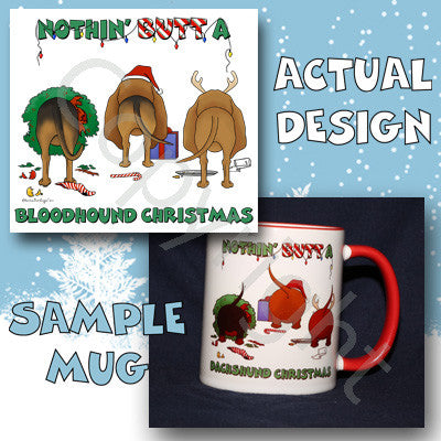 Nothin' Butt A Bloodhound Christmas 11 oz Red Mug