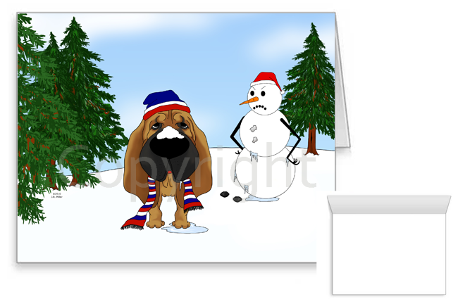 Bloodhound Winter Snowman Greeting Cards