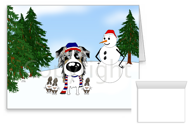 Blue Merle Australian Shepherd Winter Snowman Greeting Cards