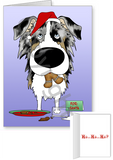 Blue Merle Australian Shepherd Santa's Cookies Greeting Cards