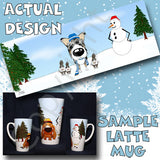 blue merle Smooth Collie snowman christmas latte mug
