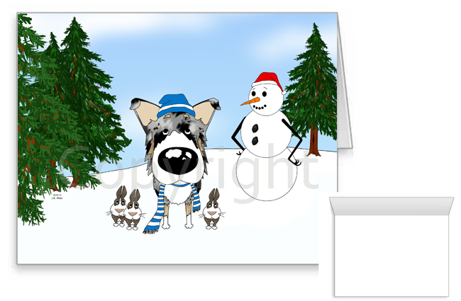 Blue Merle Smooth Collie Winter Snowman Greeting Cards