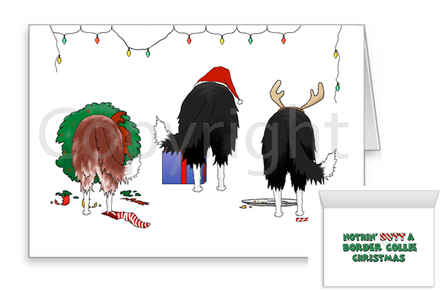 Nothin' Butt A Border Collie Christmas Greeting Cards