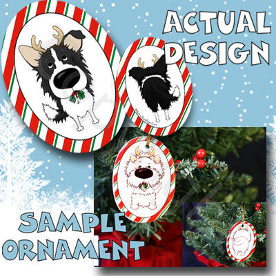 Border Collie Antler Christmas Ornament