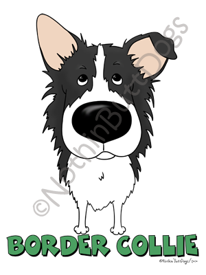 Big Nose Border Collie Dark Colored T-shirts