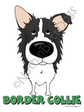 Big Nose Border Collie Light Colored T-shirts
