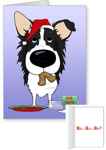 Border Collie Santa's Cookies Greeting Cards