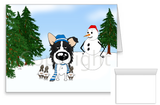 Border Collie Winter Snowman Greeting Cards
