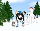 Border Collie Winter Scene Greeting Cards