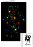 Border Collie Merry Christmas Lights Greeting Cards
