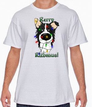 border collie christmas lights tee