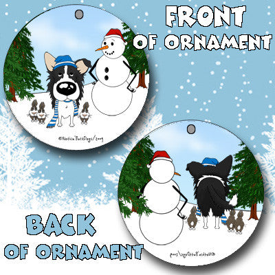 Border Collie Snowman Christmas Ornament