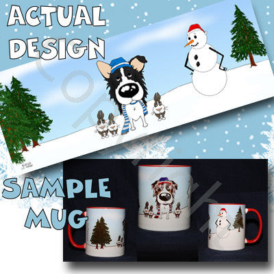 border collie snowman mug