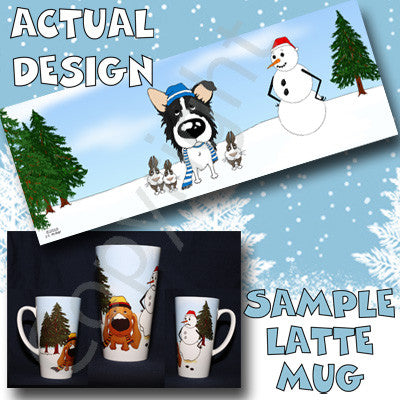 Border Collie snowman christmas latte mug