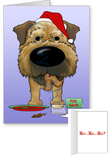 Border Terrier Santa's Cookies Greeting Cards