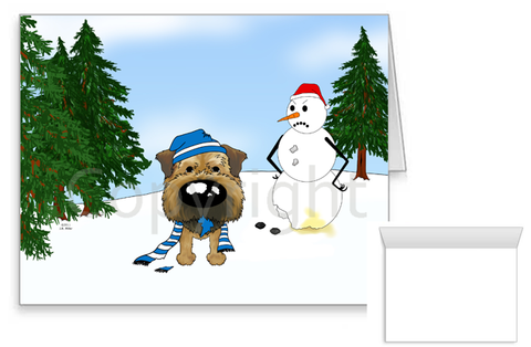 Border Terrier Winter Scene Greeting Cards