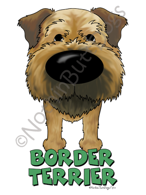 Big Nose Border Terrier Dark Colored T-shirts