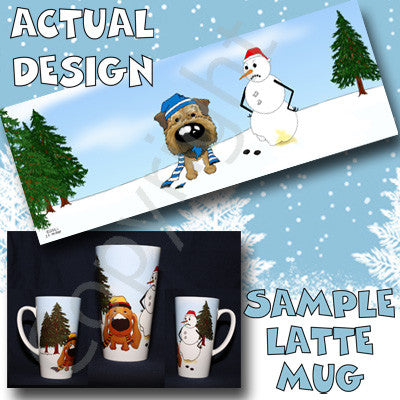 Border Terrier Snowman 17oz Latte Mug