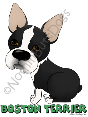 Big Nose Boston Terrier Light Colored T-shirts