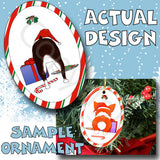 Boston Terrier Santa Hat Christmas Ornament