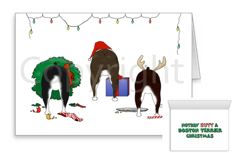 Nothin' Butt A Boston Terrier Christmas Greeting Cards