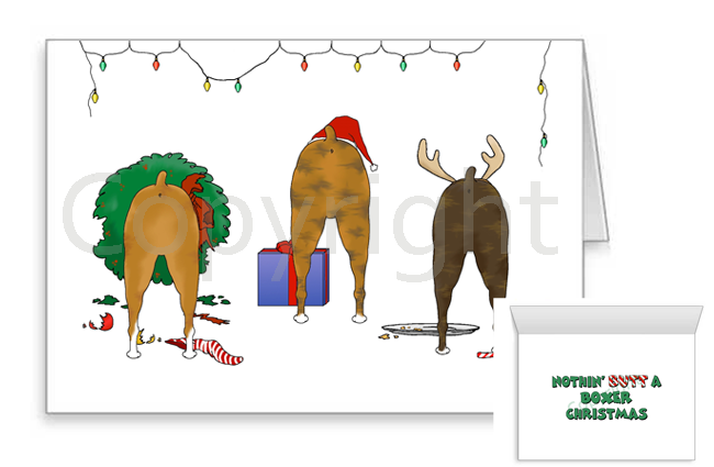 Nothin' Butt A Boxer Christmas Greeting Cards