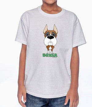 Big Nose Boxer Cropped (Tan/White) Youth T-shirts - More Colors Available