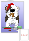 Brindle Bulldog Santa's Cookies Greeting Cards