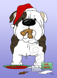 Bulldog Santa's Cookies Greeting Cards